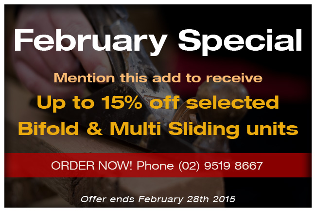 February Special  Up To 15% Off Selected Bifold & Multi Sliding Door Units